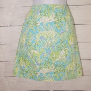 """🚨🚨""""Lilly Pulitzer"""" blue and green skirt size 2P"""